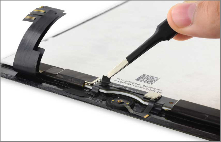 iPad air 2 screen replacement - Step 36 - Peel up the tape covering the Home Button ZIF connector