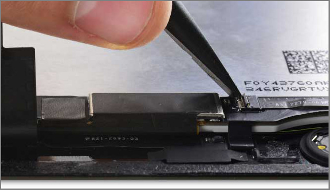 iPad air 2 screen replacement - Step 37 - flip up the retaining flap on the Home Button cable socket